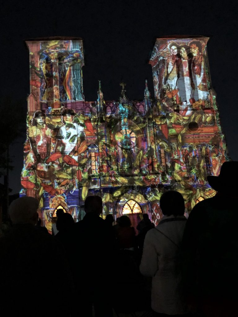 San Antonio history shown in lights on the old Cathedral
