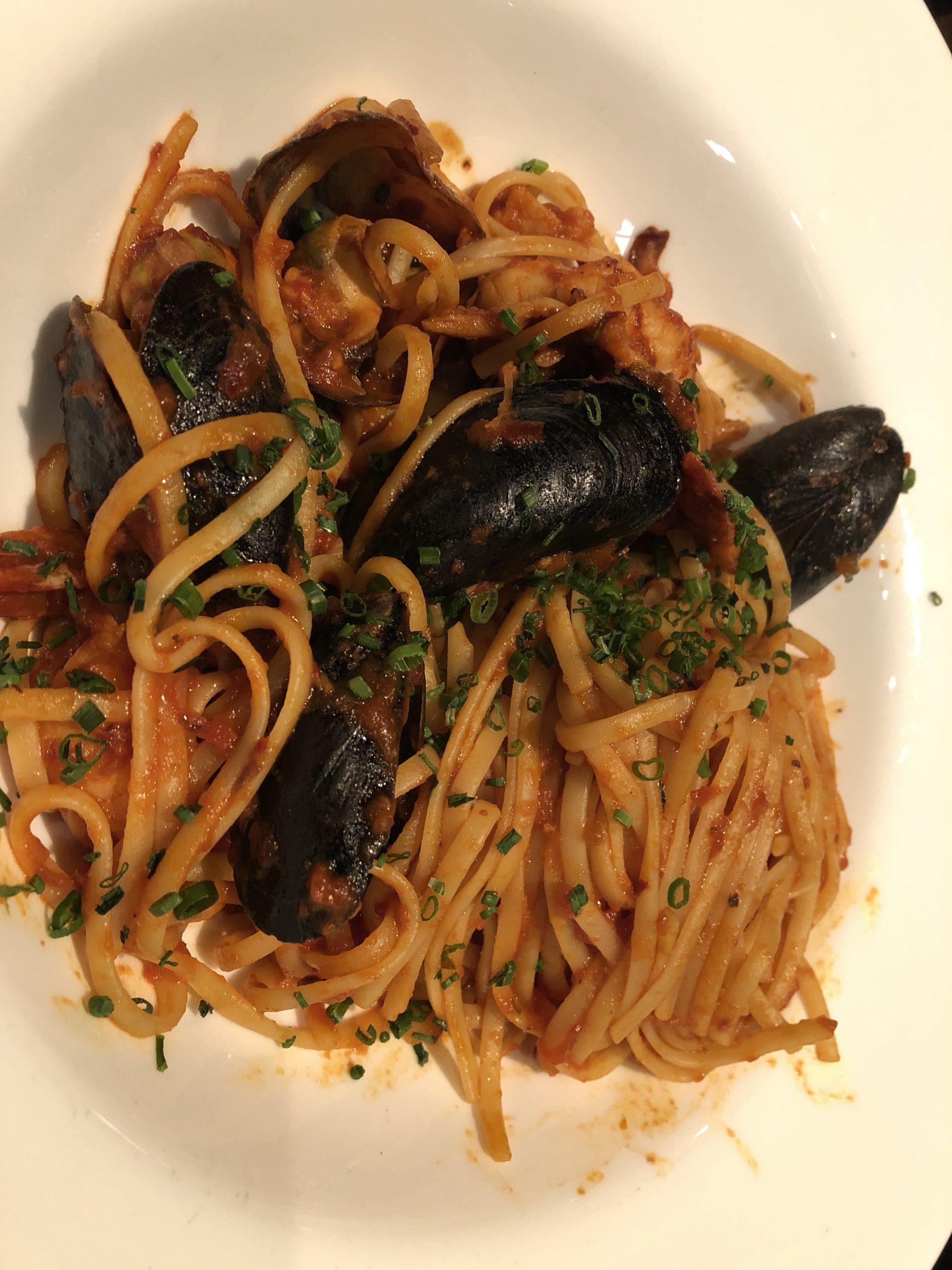 Seafood linguini at Toscanini