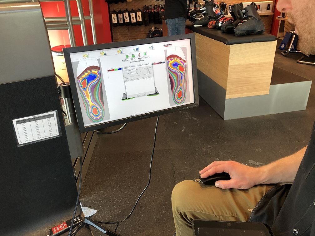 Sensors and computer map the fit of the Surefoot boot orthotics