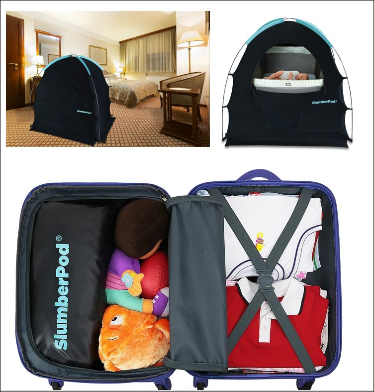 SlumberPod for babies and toddlers sets up in hotel rooms and gits in most carry-ons