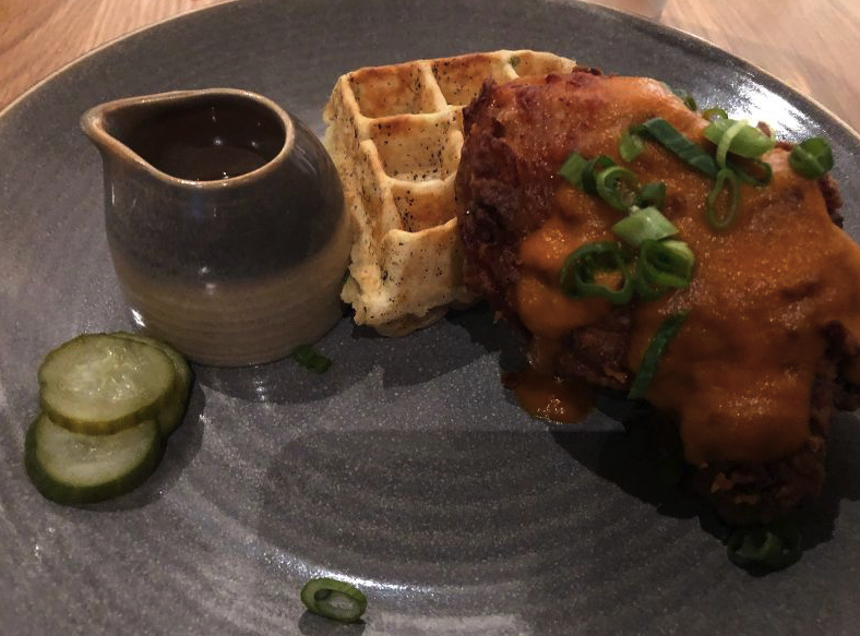 Korean chicken and waffle at Hearth and Hill