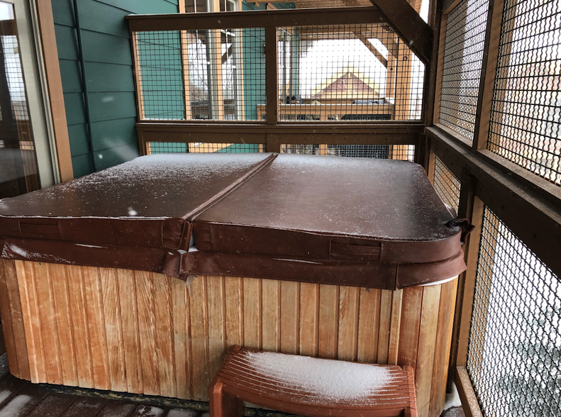 Hot tub on balcony of our condo in Park City