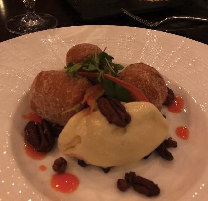 Sweet potato donuts and ice cream for dessert at Game Creek Club