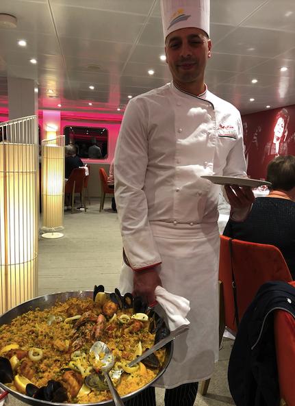 Upon return to Amalia Rodriguez - chef serves wonderful Paella
