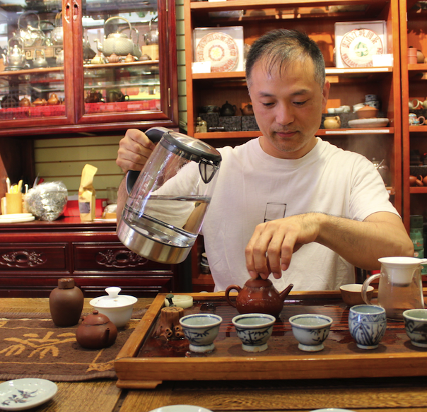 Daniel Liu brewing special tea at The Chinese Tea Shop in Vancouver