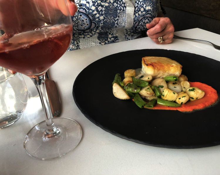 Halibut served as part of the honey dinner at ARC Restaurant