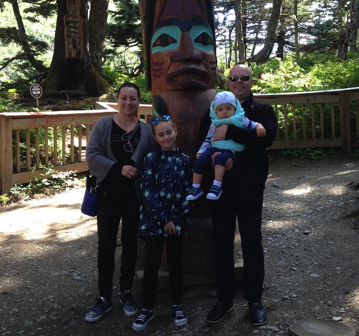Alexandra and her family onshore in Alaska