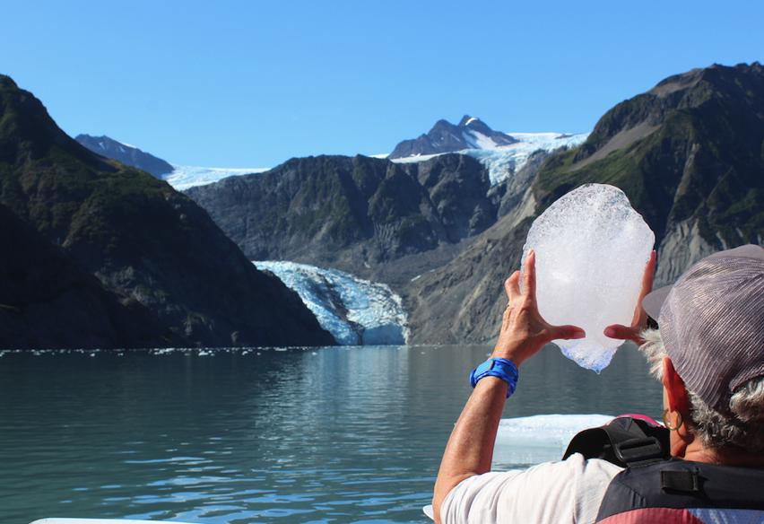 Ice harvested below Pederson Glacier for cocktails