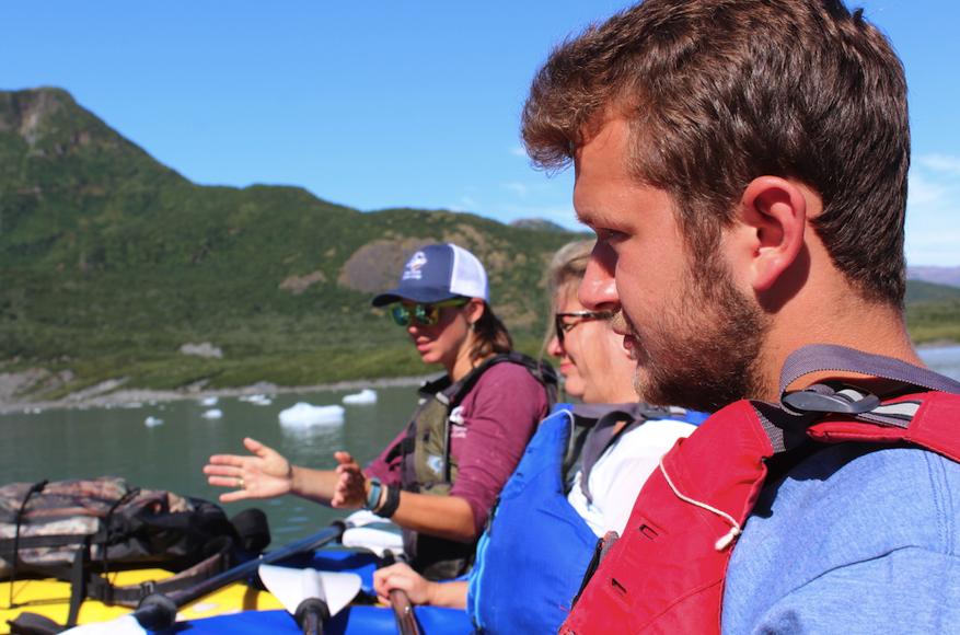 Enjoying the Pederson Glacier in our kayaks