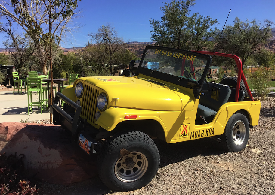 Nicely parked Jeep at KOA Moab campground