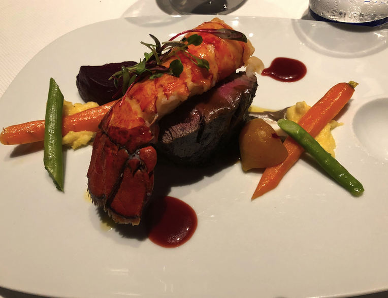 Surf and Turf served New Year's Eva at the Pinnacle on Holland America Oosterdam