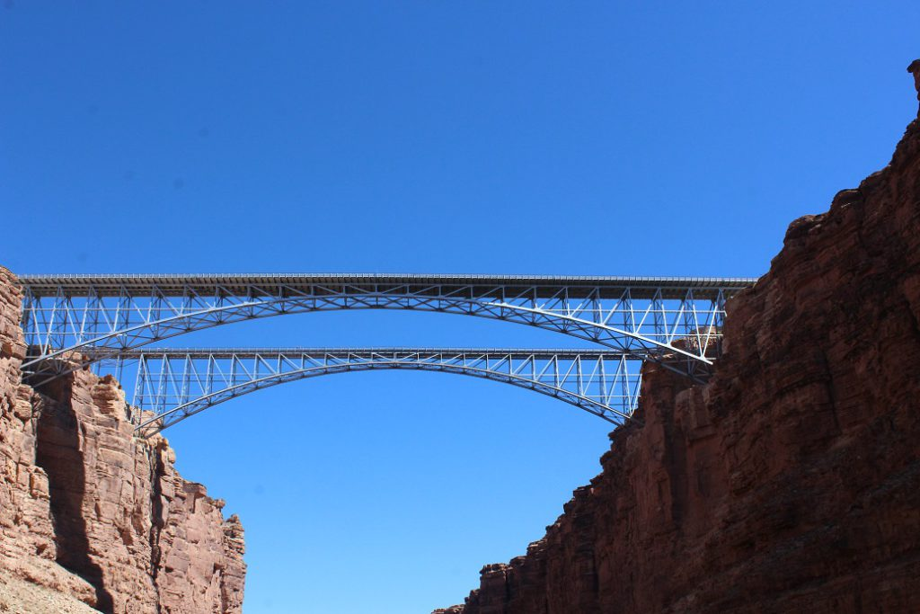 The Grand Canyon Walls get higher as we pass under the Navajo Reservation bridges
