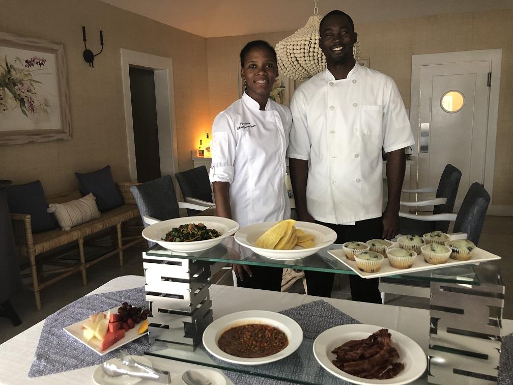 The chefs at work in Sundown Villa