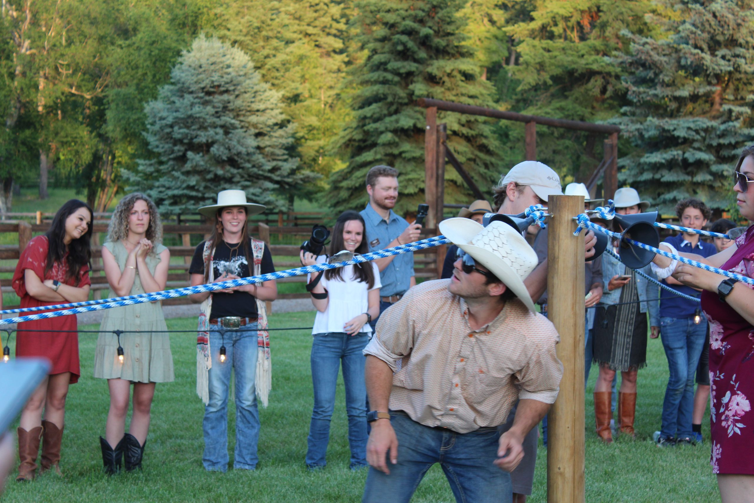 The famous mouse races at the outdoor Barn Dance at Flathead Lake Lodge