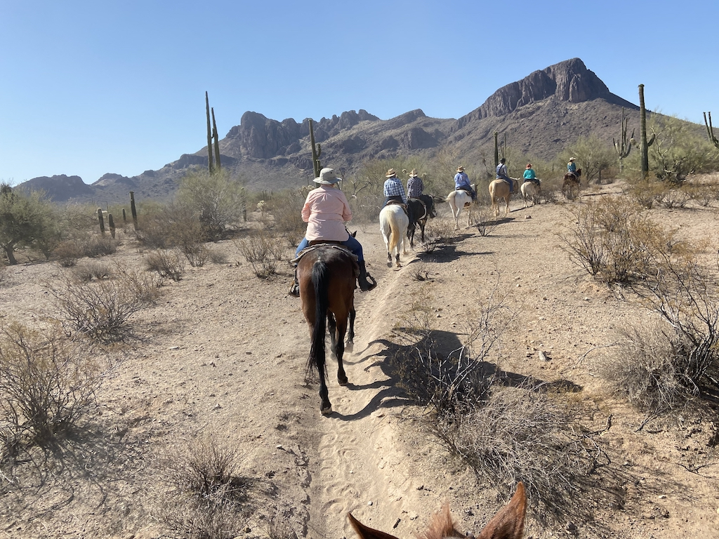 Trailride to breakfast at The White Stallion Ranch