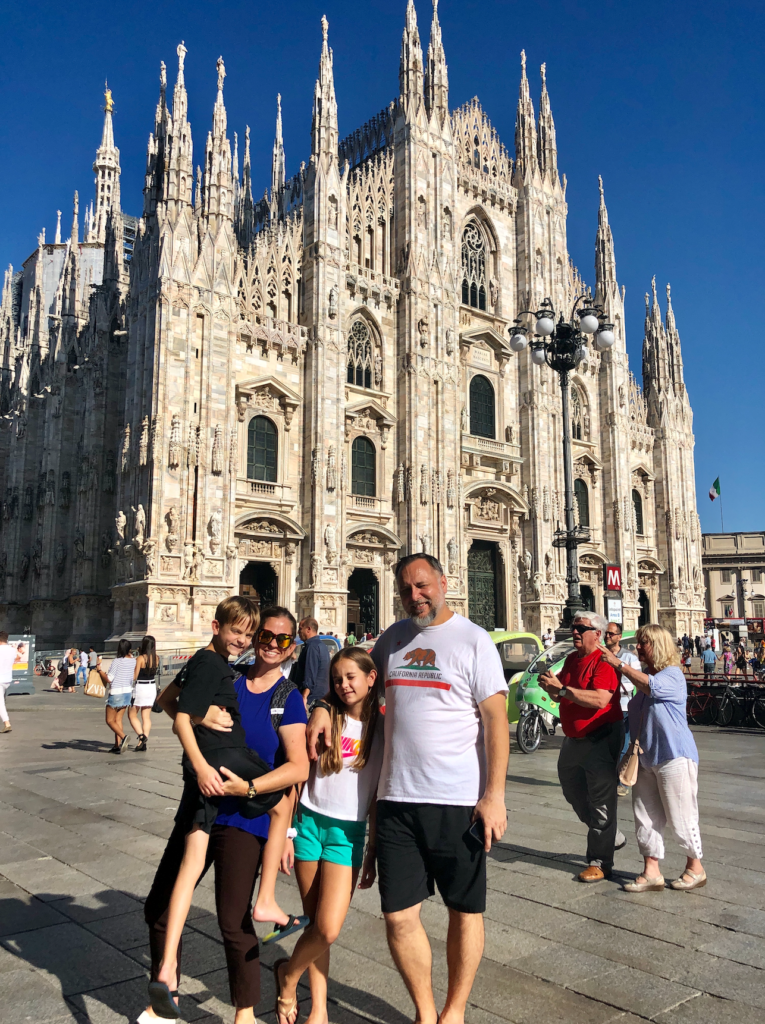 You can't leave Milan without a family photo near the Duomo di Milano