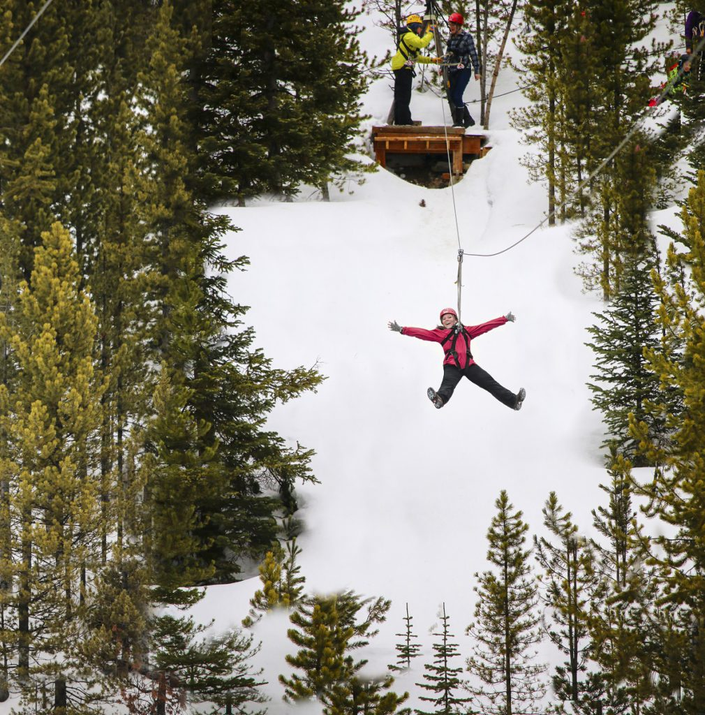 Zip lining at Big Sky Resort in Montana