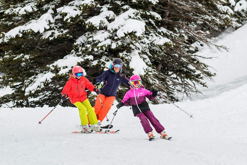 Family skiing at historic Alta Lodge in Utah
