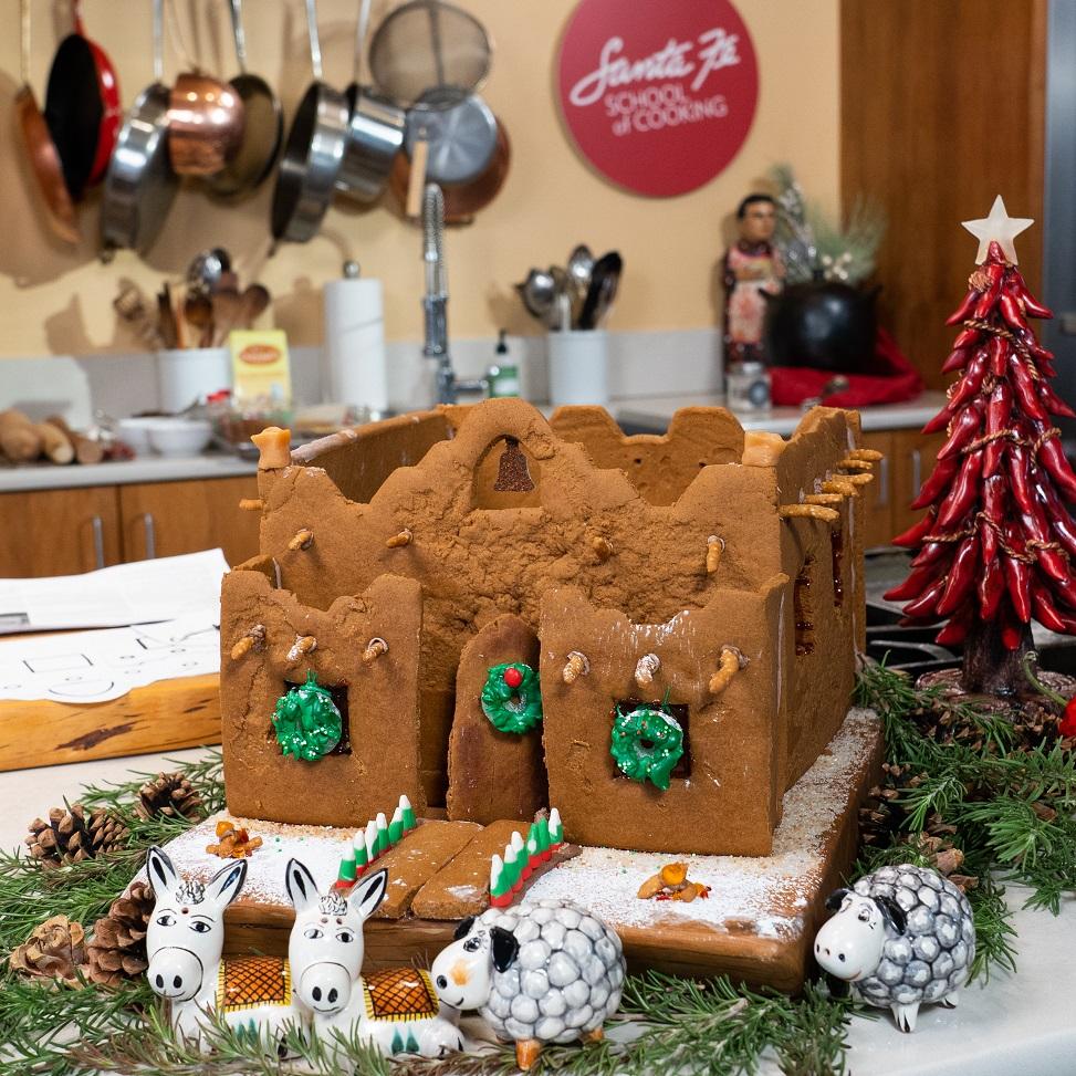 "Santa Fe School of Cooking's virtual gingerbread ""adobe"" house building class."
