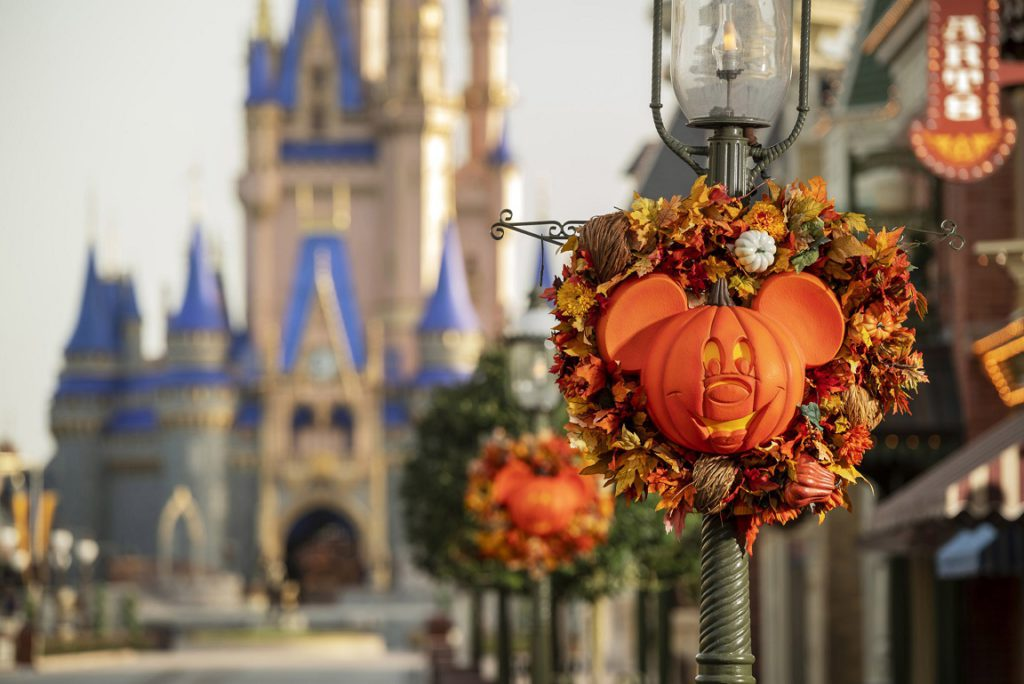 From Sept. 15 to Oct. 31, 2020, guests will experience fall décor on Main Street, U.S.A. in Magic Kingdom Park at Walt Disney World Resort in Lake Buena Vista, Fla. The fall season will bring special Halloween-themed food and drinks, merchandise and character cavalcades to Magic Kingdom Park. (Kent Phillips, photographer)