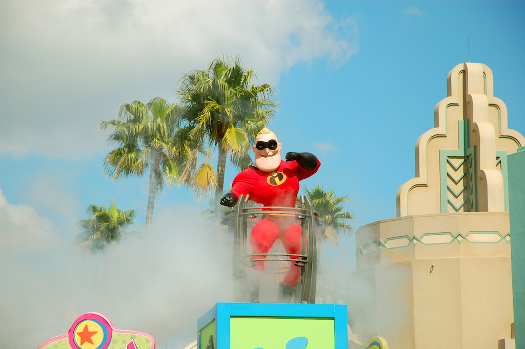 """Mr Incredible the main character from Disney's """"The Incredibles"""" is greeting the crowd during the Block Party Bash Parade in Hollywood Studios, Florida."""