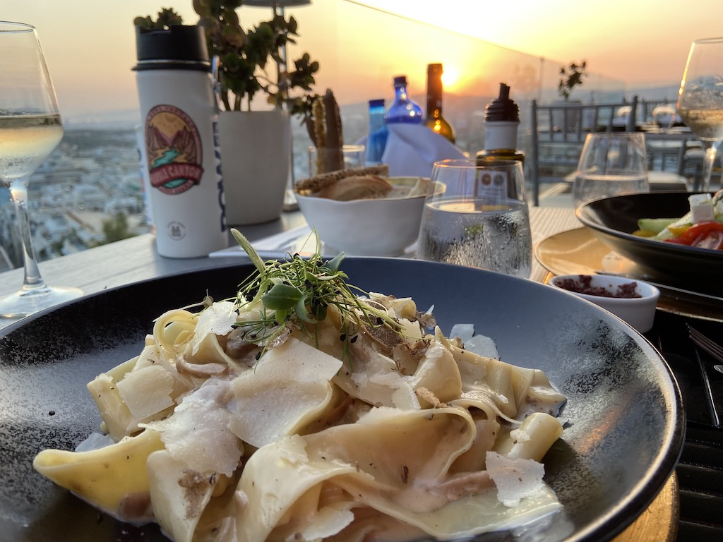 Rooftop dining at St George Lycabettus Hotel in Athens