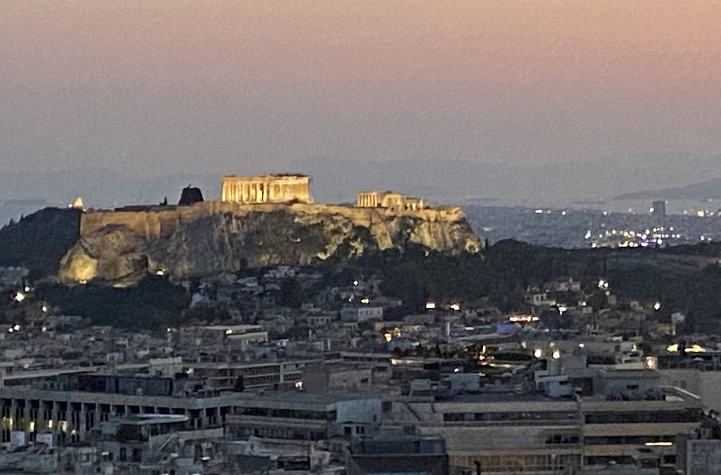 Acropolis view from St. George Hotel in Athens