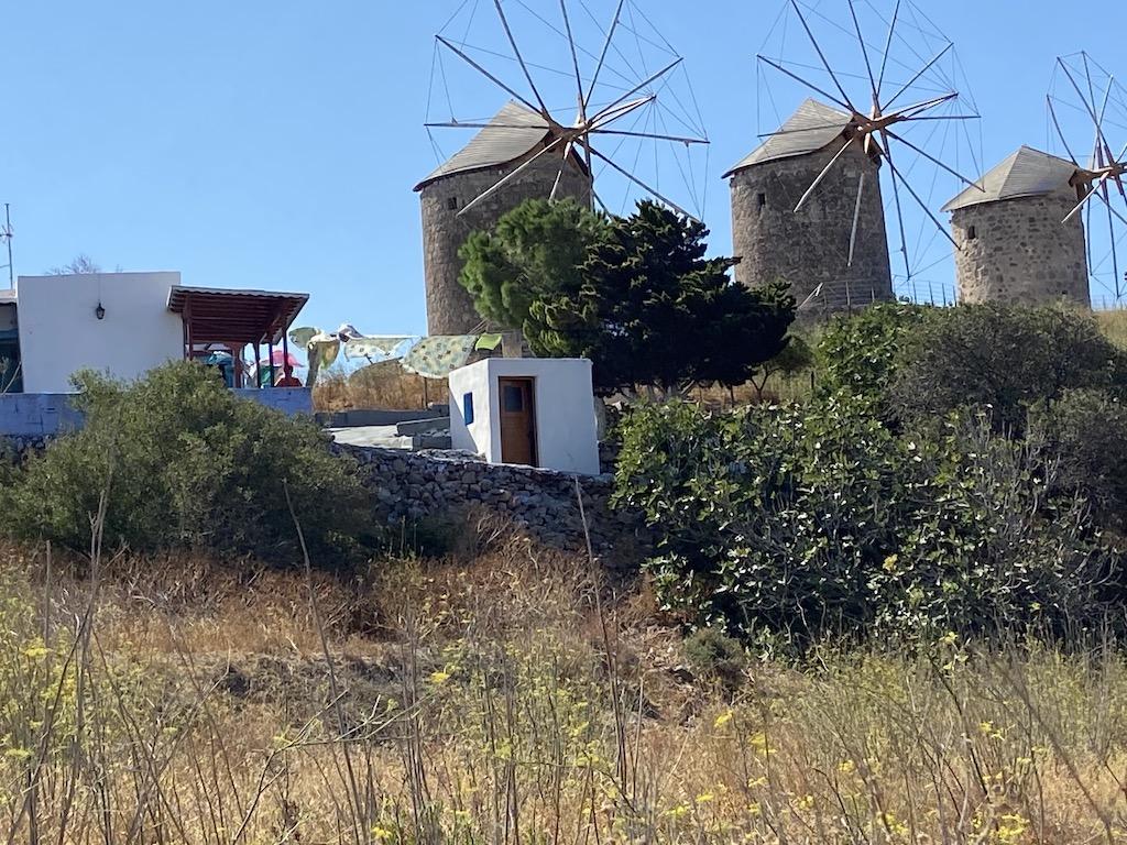 Windmills on the acropolis on Patmos
