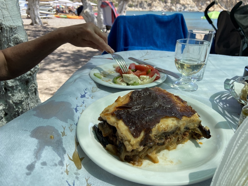 Moussaka - the Greek casserole with eggplant and meat with a bechamel top