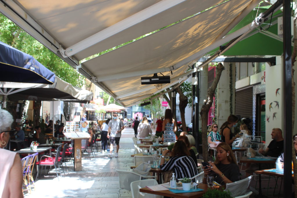 Street-side dining in central Athens