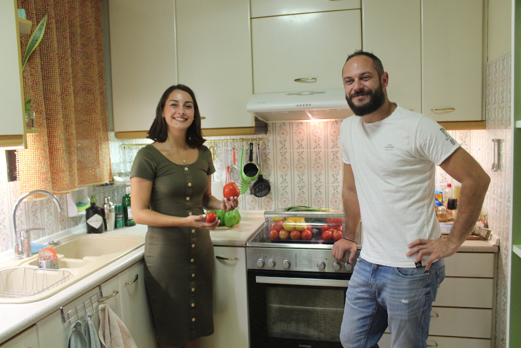 Katia and Thanos in their kitchen in Athens