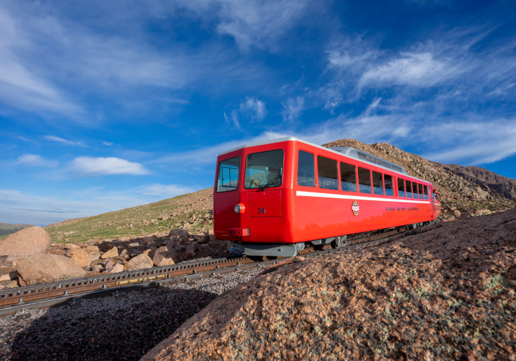 A Cog Train Operates on its Grand Opening Day.