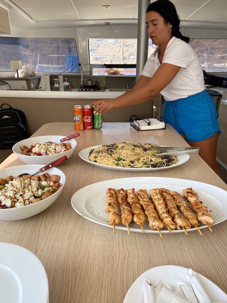 Lunch is served aboard the catamaran