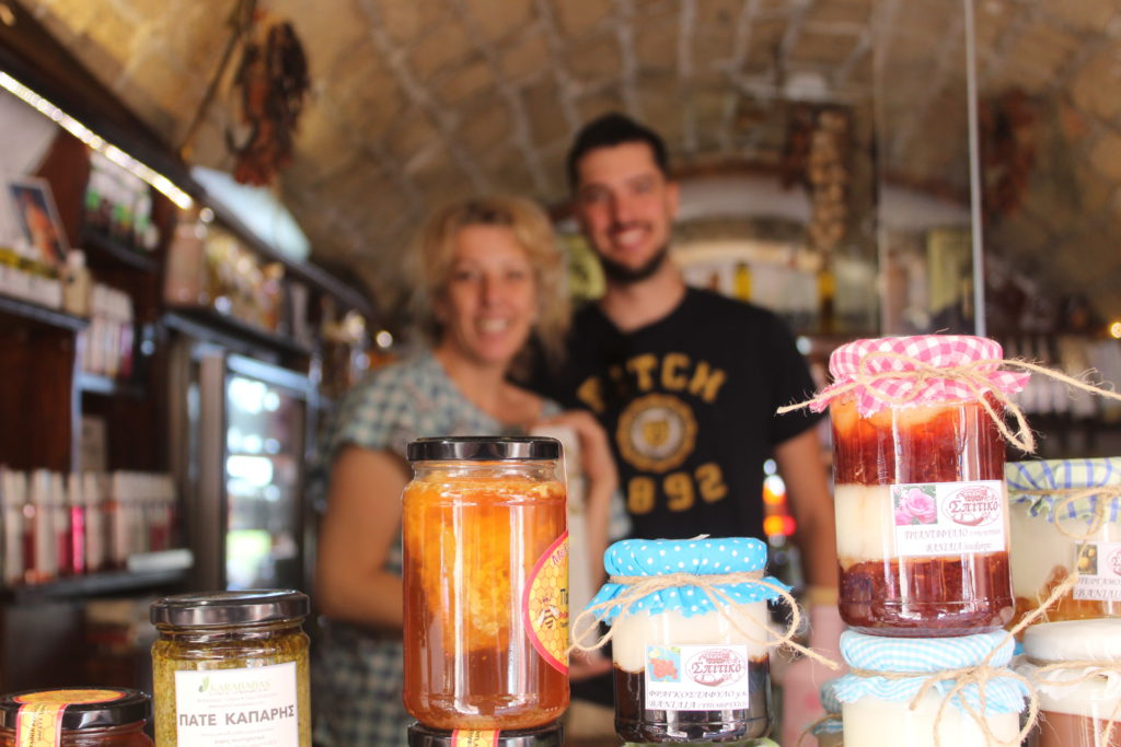 A family owned wine and olive oil shop at the tip of Monmevasia