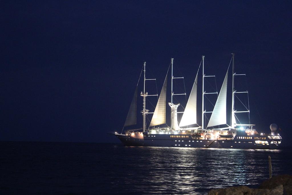 The Wind Star as night falls overMonemvasia