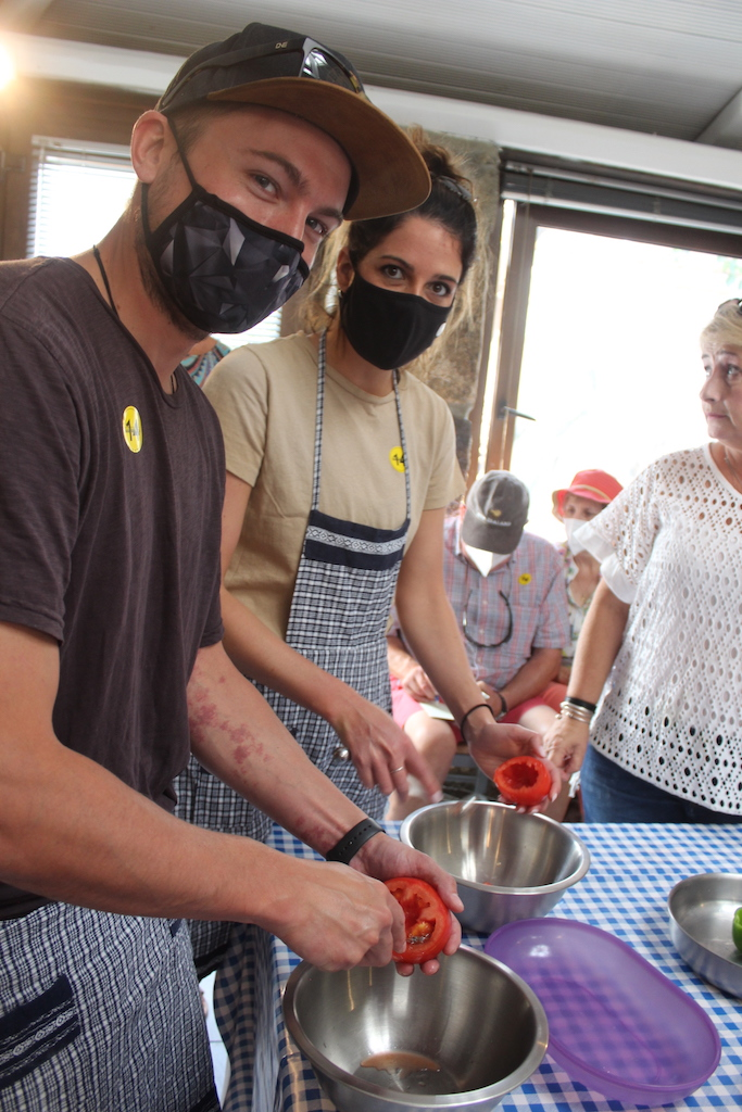 The newlyweds from Colorado taking a cooking Class in the first port of call, Mykonos