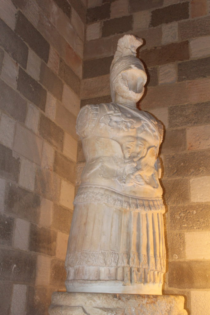 Statue of the unknown Greek warrior in the Palace on Rhodes