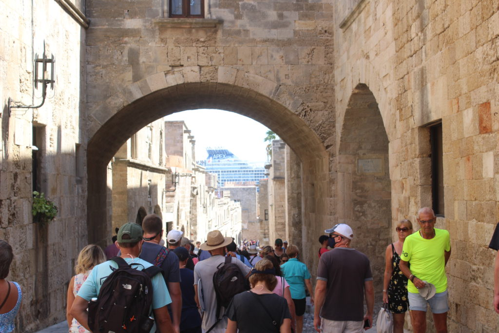 The narrow Street of the Knights of St. John on Rhodes