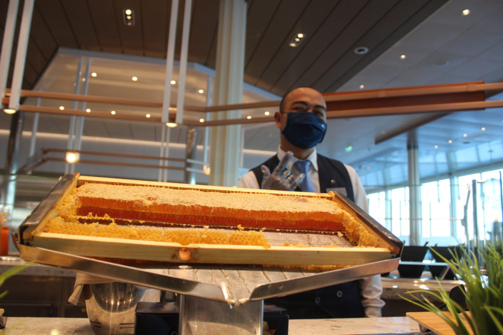 Honey from giant honeycomb served in Oceanview Cafe
