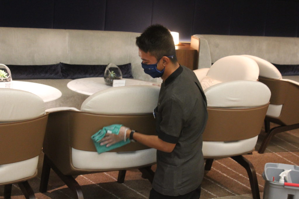 Crew members on the Celebrity Apex are constantly cleaning and sanitizing