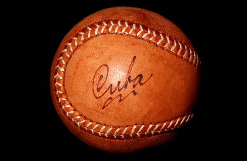 Vintage style cuban baseball on black background
