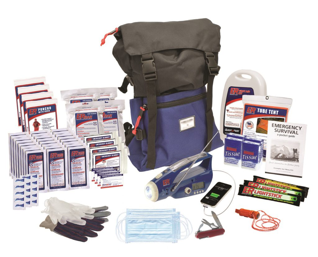 Quake Kare, the 4-Person Ultimate Go-Bag contains 72-hours of survival items to fulfill an individual's needs for food, water, first aid, emergency tools, hygiene, communication, lighting, and shelter.