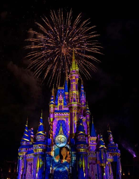 Cinderella's Castle at Walt Disney World, adorned for the 50th Anniversary Celebration.