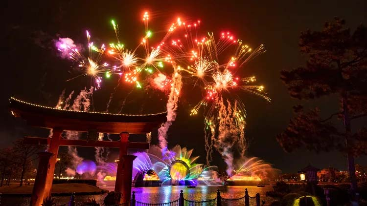 """The new nighttime Spectacular """"Harmonious,"""" one of the largest nighttime shows ever created for a Disney park."""